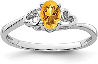 925 Sterling Silver Yellow Citrine Band Ring Birthstone November Gemstone Fine Jewelry For Women Gift Set