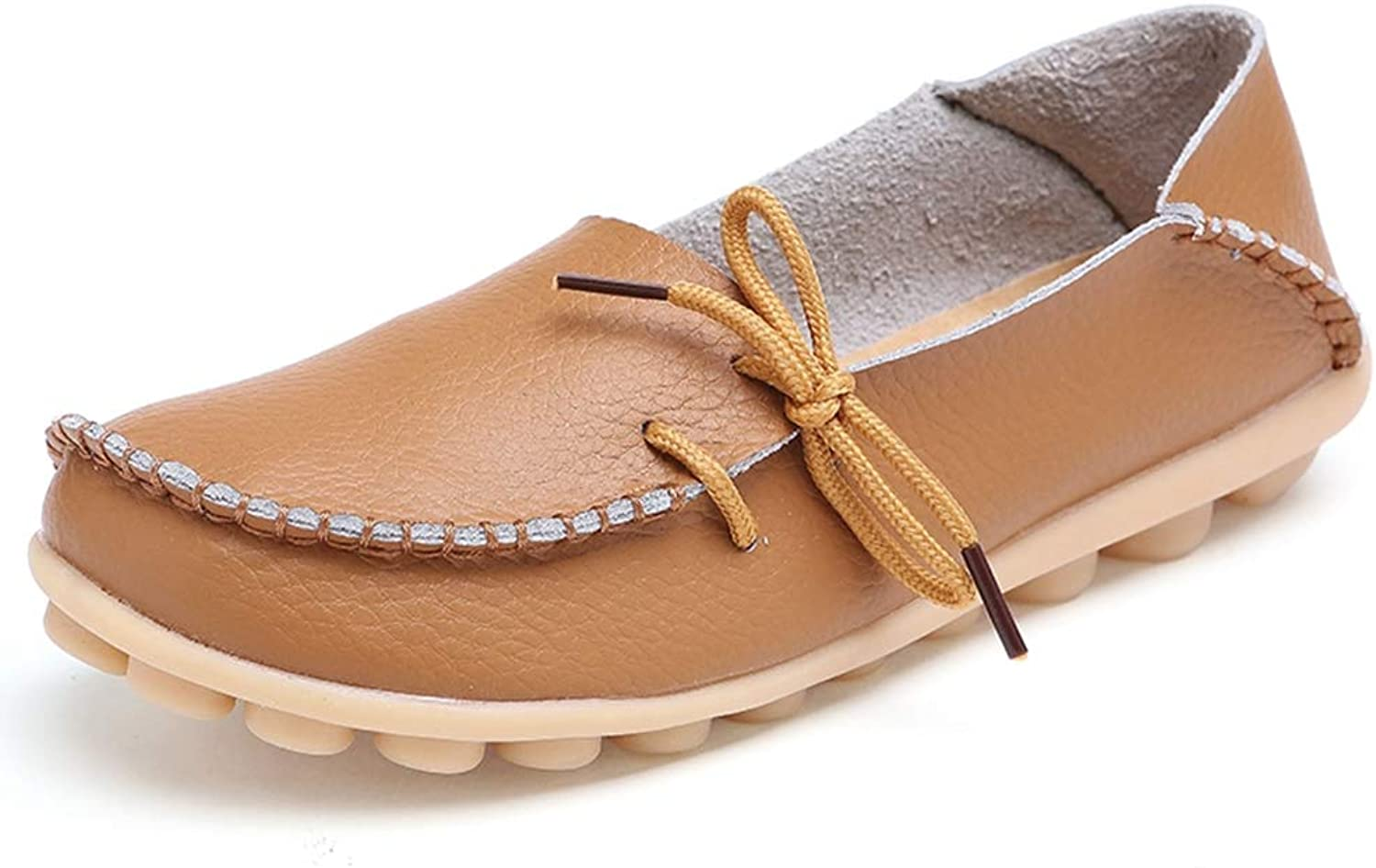 T-JULY Women Genuine Leather Flat shoes Woman Slip On Loafers Comfy Ballet shoes Round Toe Female Breathable Moccasins