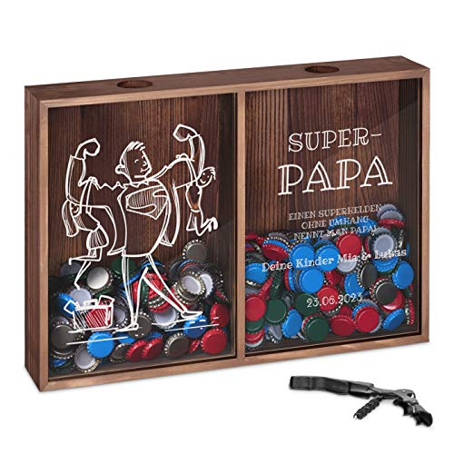 Murrano Kronkorkensammler Korkensammler mit Gravur + Flaschenöffner - Deckelsammler zum Aufhängen personalisiert - Geschenk Geburtstag für Frauen und Männer - 32x46x8cm - aus Holz - Super-Papa