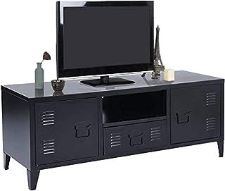 MEUBLE COSY SULLIVAN BLACK Grand Espace 1 Tiroir, 2 Portes Métal Bureau Armoire, Buffet de rangement, Meuble Télévision No...