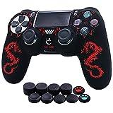 HLRAO Carcasa Mando ps4 ,Silicona con dragón Grabado con láser Protector Funda para Playstation 4 /Slim/Pro Mando x1 +10 × Grips para Pulgares. (Doble Dragón, Rojo)