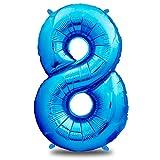 envami Globos de Cumpleãnos 8 Azul - 101 CM Globo 8 Años - Globo Numero 8 - Decoracion 8 Cumpleaños Niños - Globos Numeros Gigantes para Fiestas - Vuelan con Helio