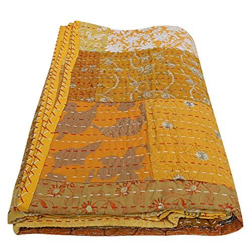 Indian-Shoppers Vintage Amarillo Patchwork Algodón Colcha Quilts Decoración India Kantha Manta Twin/Single Mano Bordado Manta Ropa de cama Boho Patchwork Vintage Kantha Quilts