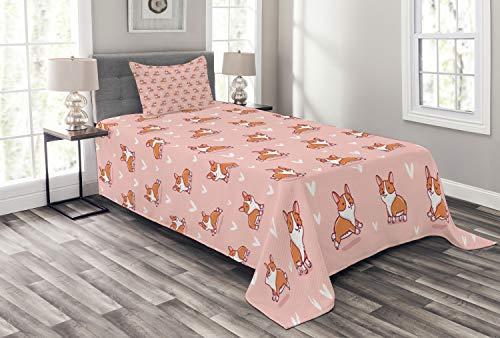 ABAKUHAUS H&eliebhaber Tagesdecke Set, Cute Little Corgis, Set mit Kissenbezug luftdurchlässig, für Einselbetten 170 x 220 cm, Korallen orange weiß