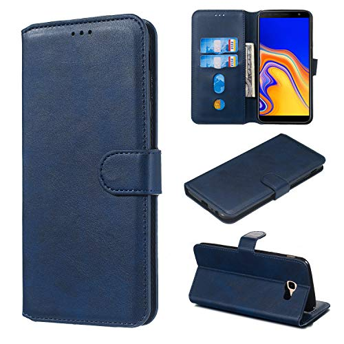 Hülle für Galaxy J4+ (J4Plus) Handyhülle Schutzhülle Leder PU Wallet Bumper Lederhülle Ledertasche Klapphülle Klappbar Magnetisch für Samsung Galaxy J4 Plus/J415FN - ZIYY010273 Blau
