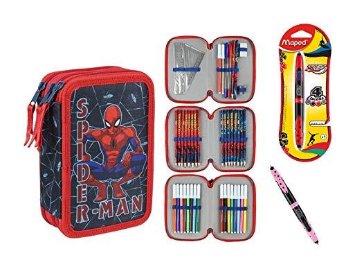 Federmäppchen, Kunsthandwerk, Premium-Borsten, 3-stöckig, 3 Ebenen, Spiderman – 43 Teile Inhalt Giotto + Geschenk