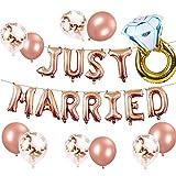 JeVenis Set de 12 globos para recién casados Banner para recién casados Globos de despedida de soltera Globos de despedida de soltera Decoración de fiesta de boda