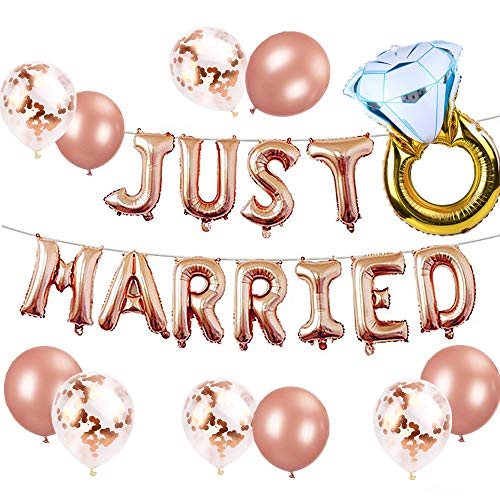 JeVenis Set von 12 Just Married Luftballons Just Married Banner Brautparty Party Luftballons Brautparty Party Dekoration Hochzeitsfeier Dekoration