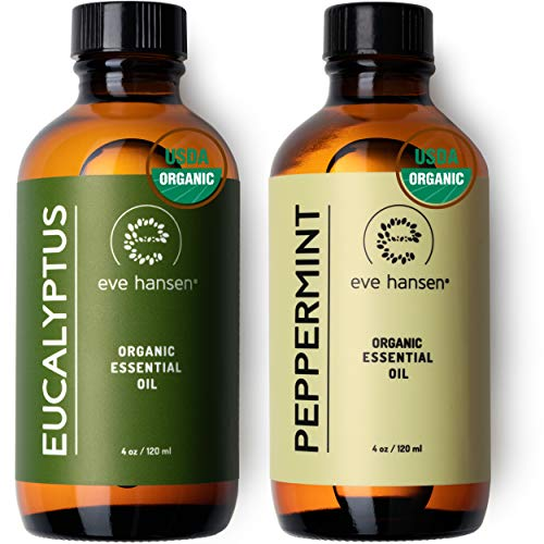 Eve Hansen Holiday Aromatherapy Essentials Set | Organic Peppermint Oil (4 oz) and Organic Eucalyptus Oil for diffuser blends and DIY projects | Energizing, refreshing, and clarifying essential oils
