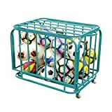 KIKIRon-Sports Ball Storage Rack Spors Ball Equpment Cart | Ball Storage For Soccer Volleyball Football | Ball Organizer | Ball Rack With Wheels (Color : Green, Size : 60x70x80cm)