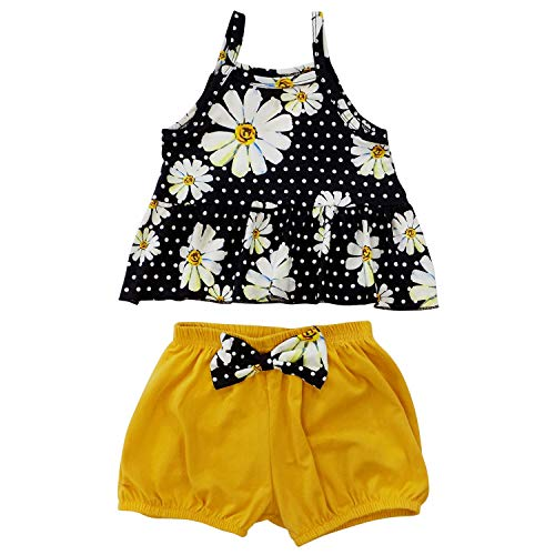 So Sydney Girls Toddler Swing Short Set, Tank or Lace Sleeve 2 Pc Shorts Outfit (3T (S), Daisy Swing Tank Set)