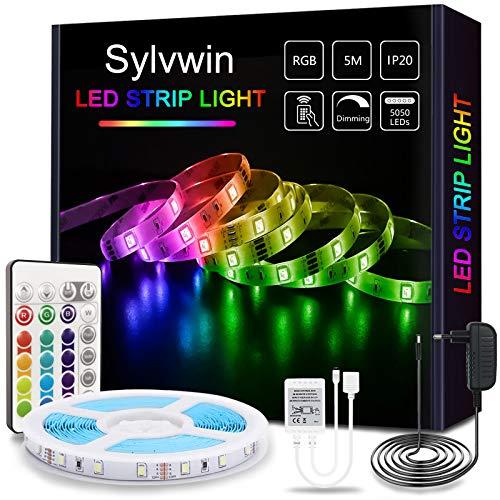 Sylvwin LED Streifen 5m RGB , LED Strip Lichterkette mit Fernbedienung,LED Stripes Lichtband Selbstklebend mit 16 Farbwechsel,4 Modi für Zuhause,Schlafzimmer,TV,Schrankdeko, Party,SMD 5050 LED Bänder