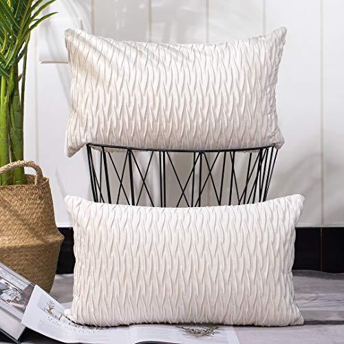 Madizz 2er Set Sanft Plüsch Samt Dekorativ Zierkissenbezüge Luxus Stil Kissenbezug für Sofa für Schlafzimmer Weiß 40x60 cm Rechteckig
