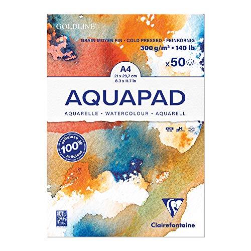 Clairefontaine 975721C Goldline Aqua - Bloc de papel de dibujo medio fino, 50 hojas, 21 x 29,7 cm, 300 g