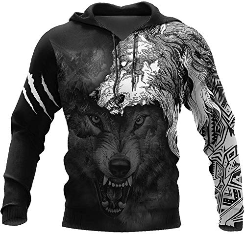2021 Männer Wikinger Hoodie, Nordic Mythology 3D Druck Odin Tattoo Pullover Sweatshirt, Mode Casual Street Harajuku Hoodie (Color : Wolf Spirit Tattoo, Size : Small)
