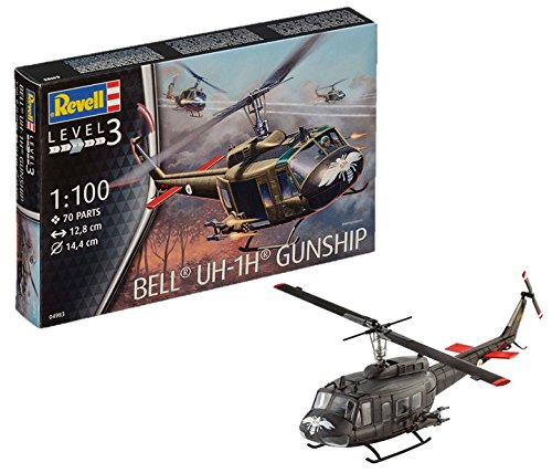 Revell- Bell UH-1H Maqueta Helicóptero Gunship, 10+ Años, Multicolor, 12,8 cm de Largo (04983)