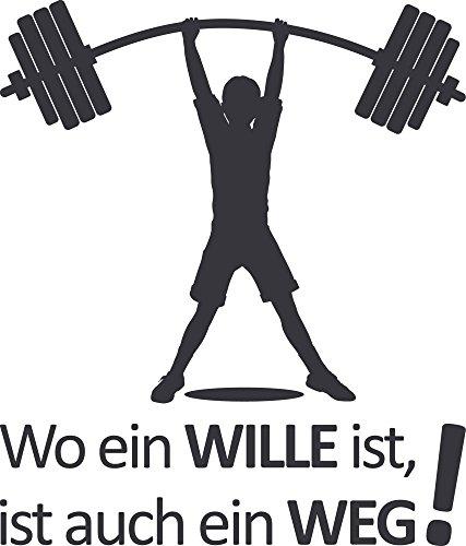 GRAZDesign Wandtattoo Wo EIN Wille ist Wand-Deko Sport Sportler Motivation, Fitness, Fitnessraum (67x57cm//073 dunkelgrau)