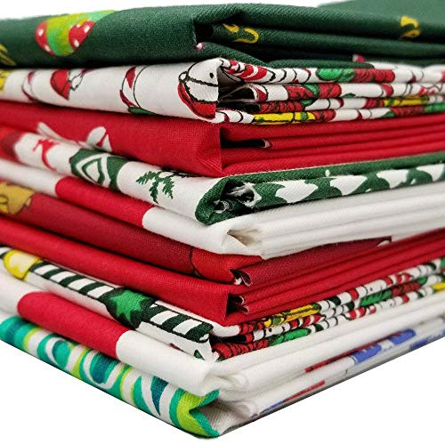 Christmas Fabric 10 Pieces Christmas Cotton Fabric Bundles 18 x 22 Inch, Multi-Color Fabric Patchwork Christmas Tree Fat Quarters Precut Santa Claus Fabric Scraps for Christmas DIY Quilting