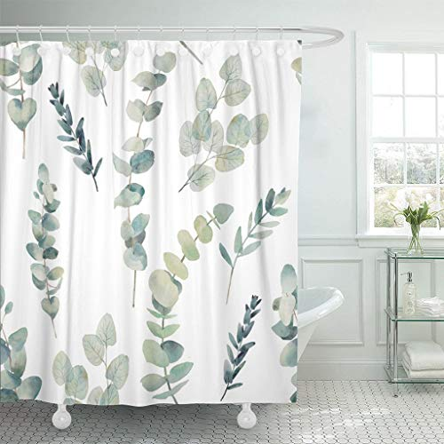 Emvency Fabric Shower Curtain with Hooks Green Leaf Watercolor Eucalyptus Branches Hand Floral with Plant on White Natural Twig 72'X72' Decorative Bathroom