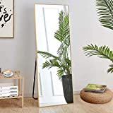 LISNOZA Full Length Mirror Aluminum Frame Floor Mirror Safe Standing Mirror Large Rectangle Wall Mirror Full Body Mirror Gold Mirror 65'x22' (Gold)
