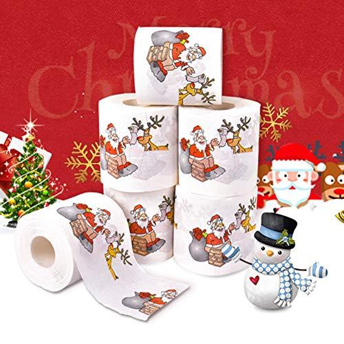 LbojailiAi 1 Unid Decoración De Fiesta De Navidad Santa Elk Ciervo Papel Higiénico Rollo De Papel Mesa Multicolor
