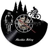 wttian Biker Retro Wall Art Deco Road Bike Rider Silueta Bicicleta Reloj-No_LED