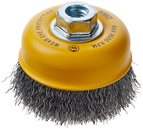 DEWALT Wire Cup Brush, Crimped, Carbon Steel, 4-Inch x 5/8-Inch, 11 HP, .014-Inch (DW49101)