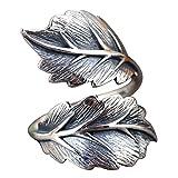 Anello di foglie in argento sterling 925 solido nero per donna taglia regolabile 12-18