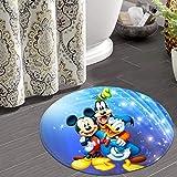 Lnshizhen Alfombra redonda de franela antideslizante para baño, dormitorio, cocina, Mickey Mouse (50,8 cm)