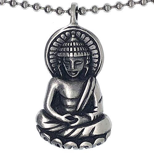 Theravada Mahayana Zen Thai Amida Buddha Buddhism Hinduism Protection Amulet Wealth Money Lucky Charm Prosperity Longevity Safe Travel Talisman pewter unisex men's pendant necklace W Silver Ball Chain