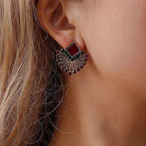 Gemini_mall, orecchini per donne e ragazze, stile vintage etnico con strass, a forma di ventaglio bohémien, per San Valentino, festa della mamma, matrimonio, festa, Natale, regalo di compleanno
