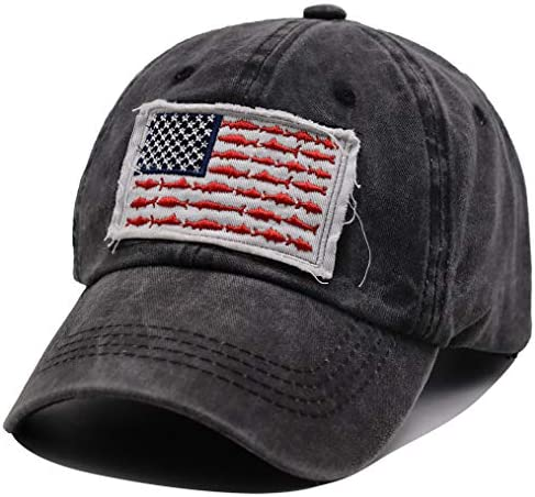 OASCUVER American Fish Flag Hat Distressed Cotton Adjustable Embroidery Baseball Cap for Men product image