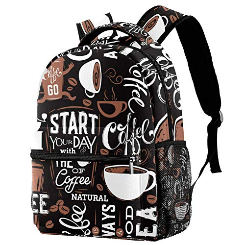 Schulrucksäcke 40,6 cm (16 Zoll) Student Bookbag Travel Basic Daypack Laptop Tasche - Kaffeetassen und Worte