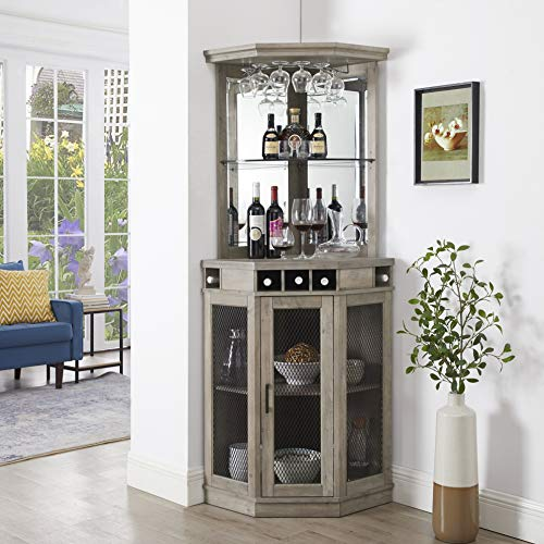 Home Source Stone Grey Corner Bar Unit with Built-in Wine Rack and Lower Cabinet