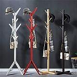 DYecHenG Soporte de Perchero Piso Perchero de Madera Maciza Ropa Vertical en Rack for el hogar Porche de Entrada para Bolsa de Sombrero de Ropa (Color : Red, Size : 165 x 50cm)