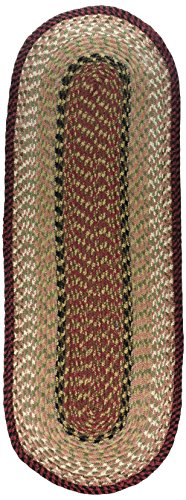 Earth Rugs Burgundy-Mustard Oval Table Runner