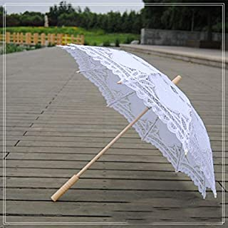 HKXR Lace Parasol Umbrella Wedding Umbrella Elegant Lace Umbrella Embroidery Ivory Battenburg (Color : White)