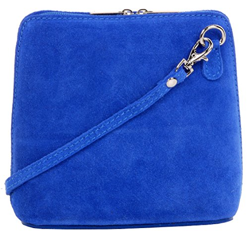 Primo Sacchi Damen Italienisches Wildleder Leder Kleine dreieckige Umhängetasche oder Umhängetasche Handtasche Königsblau