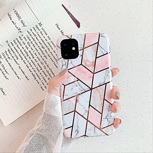 Funda de teléfono con Textura de mármol geométrico galvanizado para iPhone 11 12 Pro MAX 8 7 6 6s Plus X XR XS MAX SE 2020 Funda Trasera Suave IMD para iPhone X 001