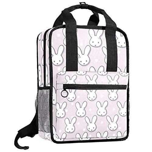 Laptop Rucksack College Tasche Casual Travel Daypack Mehrzweck für Frauen Männer Mädchen Junge Nette Kaninchen Maulkörbe und Tupfen