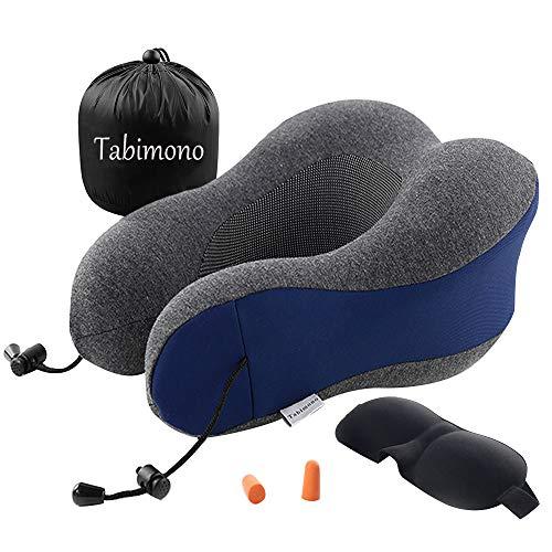 [Tabimono] ネックピロー U型 3Dアイマスク 首枕 メモリーフォーム 高密度 低反発 携帯枕 洗えるカバー トラベル枕 収納ポーチ付 (ブルー シングル)