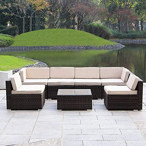 Haverchair 7 Pieces Patio Rattan Wicker Outdoor Furniture Sectional All-Weather Sofa 7-Piece...