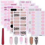 MWOOT 9 Fogli Adesivo per Unghie, Smalto Adesivo Unghie Nail Art, Decalcomanie Autoadesive per Unghie - Rosa French Nail Wraps Sticker