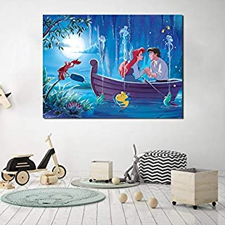 zhuziji DIY Pintar por números The Little Mermaid Wallpaper Mural Princess Ariel Impresión en Lienzo Arte de la Pared Pintura Decoración Pintura Decoración de40x50cm(Sin Marco)