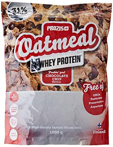 Prozis Oatmeal with Whey Protein 1000g, Farina D'Avena, Cereali Ricchi di Carboidrati di Alta Qualità e Fibre Sazianti, al Gusto Gocce di Cioccolato
