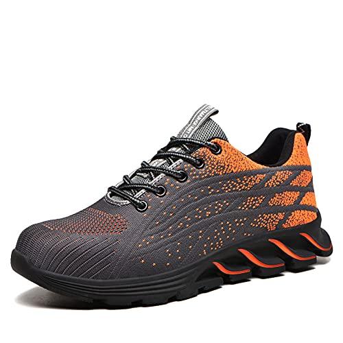 Sommer Arbeitsschuhe Herren 39 S3 Sicherheitsschuhe mit Stahlkappe Damen Arbeit Schuhe Männer Frauen Sicherheit Sneaker Turnschuhe Sportlich Schutzschuhe (9010-Orange)