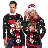 Aibrou Pull Femme Noël tricoté Festif Pull de Noël col Rond Pull tricoté Christmas Top T-Shirt de Noël Homme Femme Enfant Garçon Fille