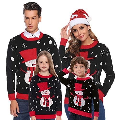 Aibrou Kinder Schneemann Weihnachtspullover Festliche Gestrickte Pullover Rundhals Sweater Strickpullover Schwarz-Kinder 100-105 (empfolen: 2-3 Jahre Alt)