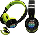 4In1 Wireless LED Light Up Stereo Headphone, FM Radio TF Card MP3 Point Headset + Microphone Waterproof Support Music Streaming Hands-Free Calling for iPhone X iPad Tablet Surface Smartphones (Green)
