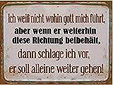 KMC Austria Design Cartel de chapa vintage Shabby Style como cuadro de pared, 35 x 26 cm, con texto en alemán 'Thema Gottes Wege: Ich weiß nicht wohin Gott Mich führe'
